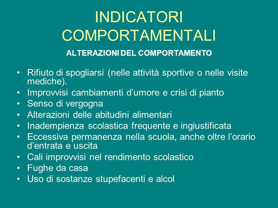 INDICATORI COMPORTAMENTALI ALTERAZIONI DEL COMPORTAMENTO Rifiuto di spogliarsi (nelle attività sportive o nelle visite mediche). Improvvisi cambiament