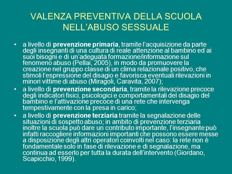 VALENZA PREVENTIVA DELLA SCUOLA NELLABUSO SESSUALE a livello di prevenzione primaria, tramite lacquisizione da parte degli insegnanti di una cultura d