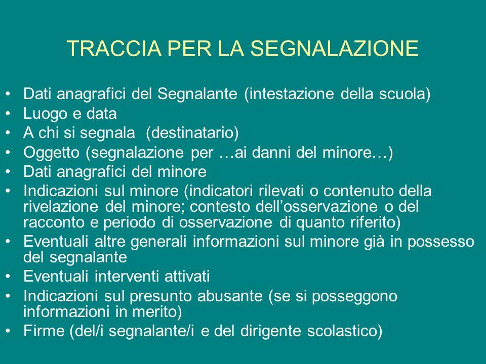 TRACCIA PER LA SEGNALAZIONE Dati anagrafici del Segnalante (intestazione della scuola) Luogo e data A chi si segnala (destinatario) Oggetto (segnalazi