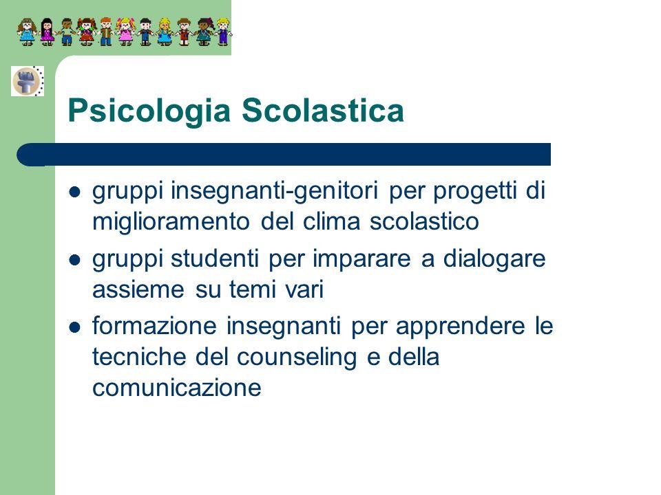 Psicologia Scolastica gruppi insegnanti-genitori per progetti di miglioramento del clima scolastico gruppi studenti per imparare a dialogare assieme s