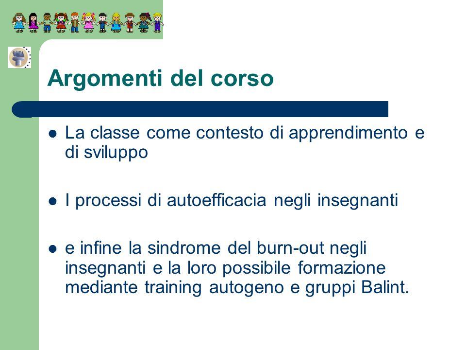La classe come contesto di apprendimento e di sviluppo I processi di autoefficacia negli insegnanti e infine la sindrome del burn-out negli insegnanti