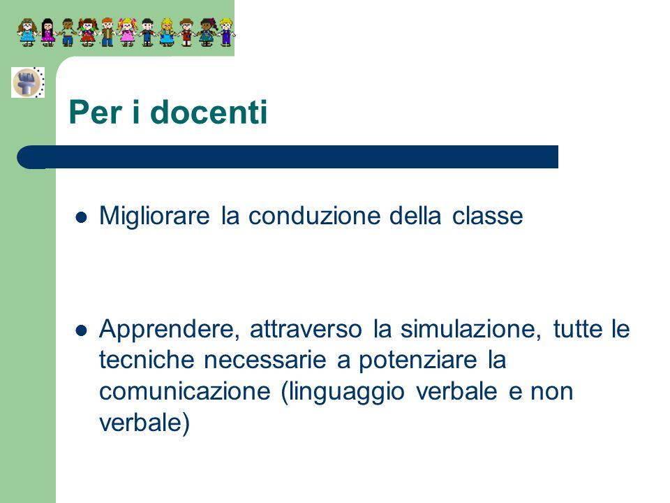 Migliorare la conduzione della classe Apprendere, attraverso la simulazione, tutte le tecniche necessarie a potenziare la comunicazione (linguaggio ve