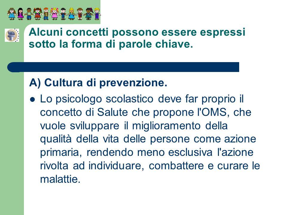 Alcuni concetti possono essere espressi sotto la forma di parole chiave. A) Cultura di prevenzione. Lo psicologo scolastico deve far proprio il concet