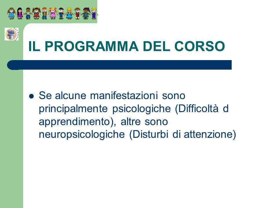 Se alcune manifestazioni sono principalmente psicologiche (Difficoltà d apprendimento), altre sono neuropsicologiche (Disturbi di attenzione) IL PROGR