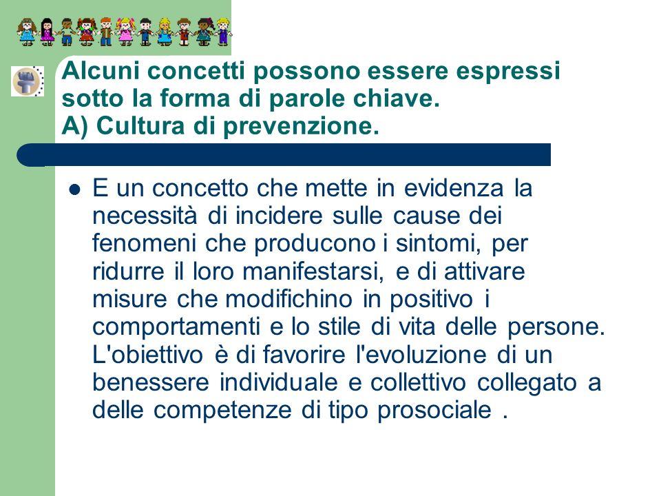 Alcuni concetti possono essere espressi sotto la forma di parole chiave. A) Cultura di prevenzione. E un concetto che mette in evidenza la necessità d
