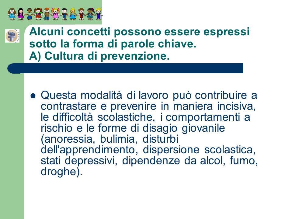 Alcuni concetti possono essere espressi sotto la forma di parole chiave. A) Cultura di prevenzione. Questa modalità di lavoro può contribuire a contra