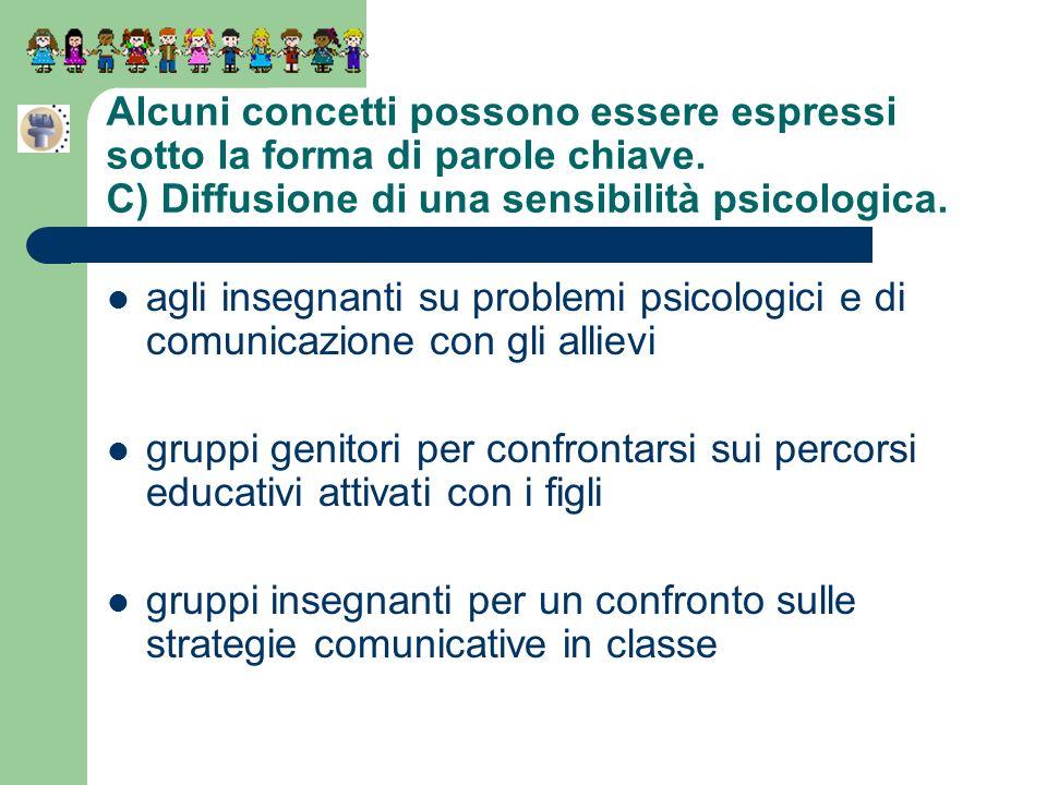 Alcuni concetti possono essere espressi sotto la forma di parole chiave. C) Diffusione di una sensibilità psicologica. agli insegnanti su problemi psi