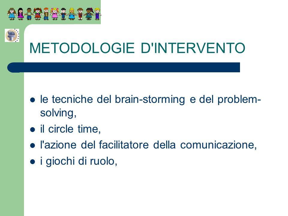 METODOLOGIE D'INTERVENTO le tecniche del brain-storming e del problem- solving, il circle time, l'azione del facilitatore della comunicazione, i gioch