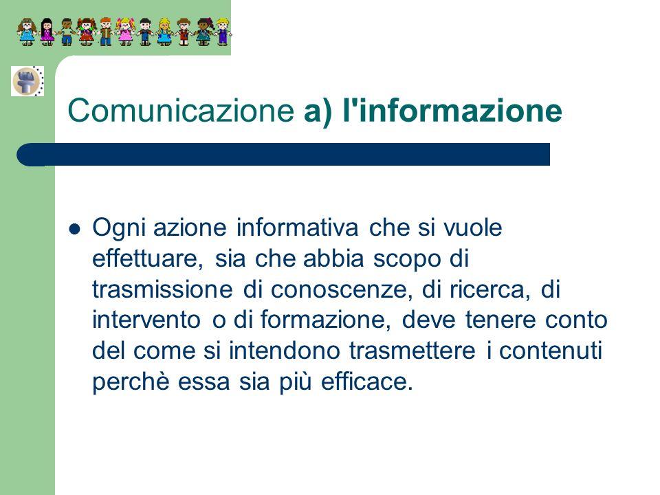 Comunicazione a) l'informazione Ogni azione informativa che si vuole effettuare, sia che abbia scopo di trasmissione di conoscenze, di ricerca, di int