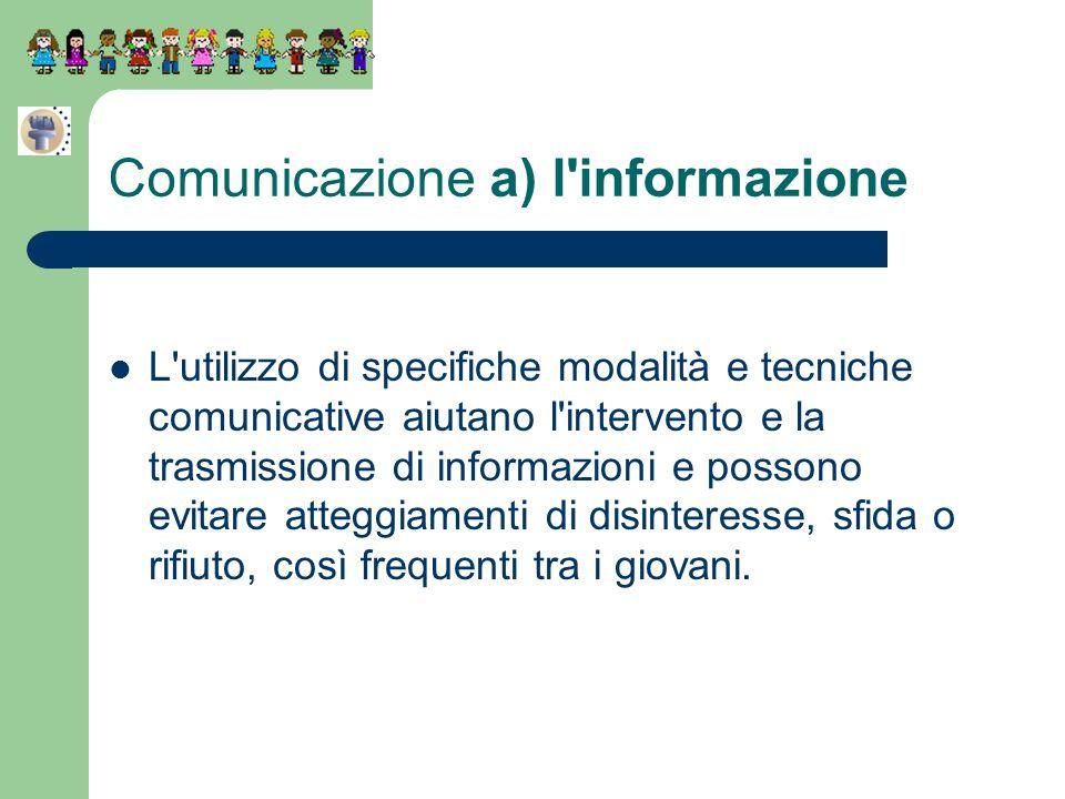 Comunicazione a) l'informazione L'utilizzo di specifiche modalità e tecniche comunicative aiutano l'intervento e la trasmissione di informazioni e pos
