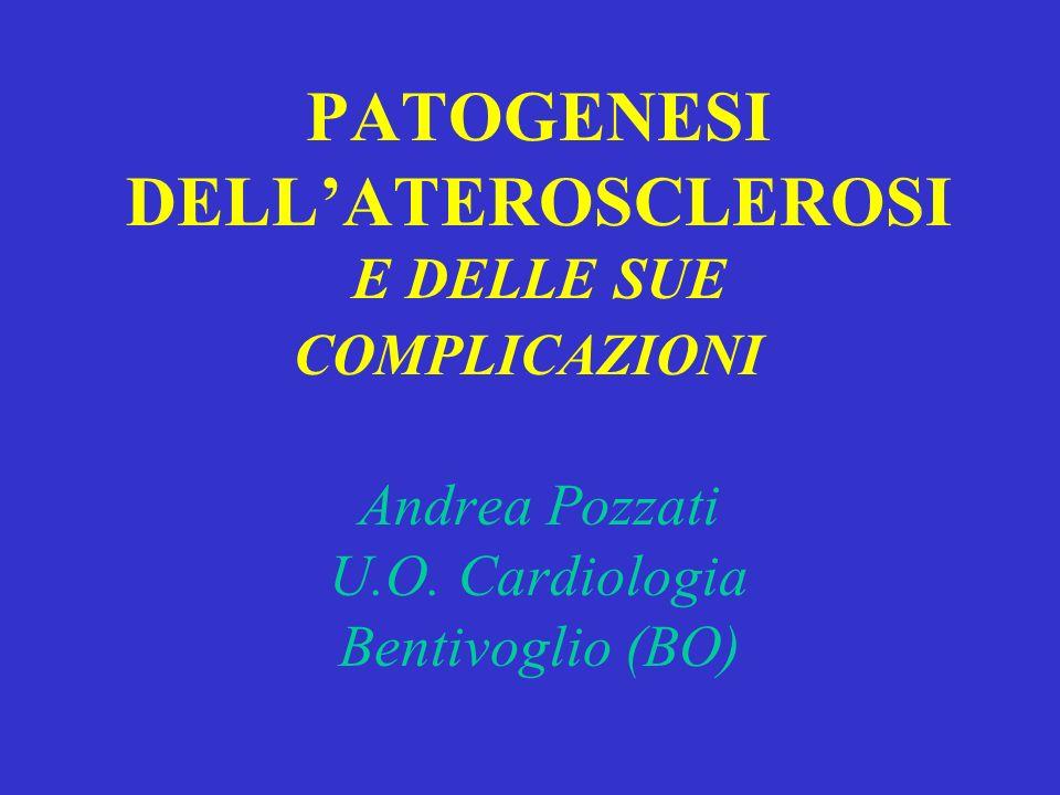 PATOGENESI DELLATEROSCLEROSI E DELLE SUE COMPLICAZIONI Andrea Pozzati U.O. Cardiologia Bentivoglio (BO)