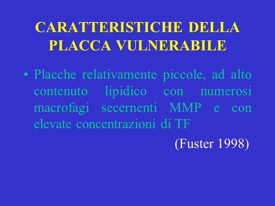 CARATTERISTICHE DELLA PLACCA VULNERABILE Placche relativamente piccole, ad alto contenuto lipidico con numerosi macrofagi secernenti MMP e con elevate