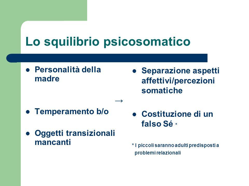 Lo squilibrio psicosomatico Personalità della madre Temperamento b/o Oggetti transizionali mancanti Separazione aspetti affettivi/percezioni somatiche