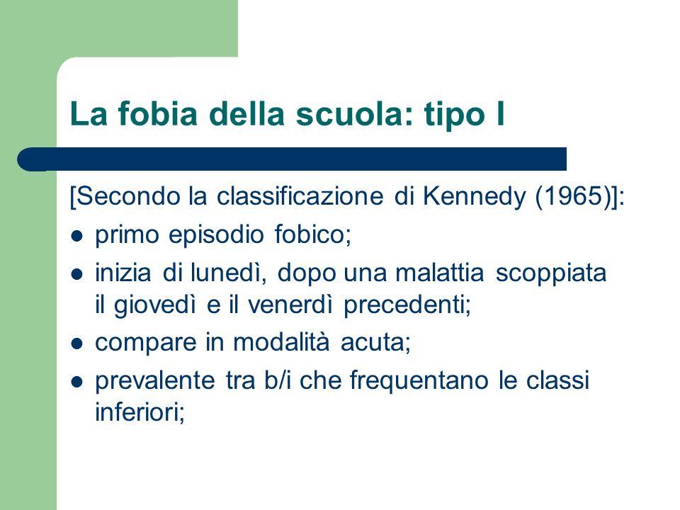 La fobia della scuola: tipo I [Secondo la classificazione di Kennedy (1965)]: primo episodio fobico; inizia di lunedì, dopo una malattia scoppiata il