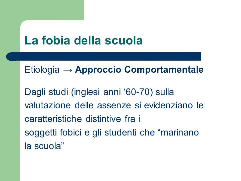 La fobia della scuola Etiologia Approccio Comportamentale Dagli studi (inglesi anni 60-70) sulla valutazione delle assenze si evidenziano le caratteri