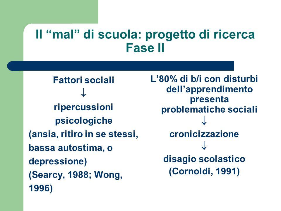 Il mal di scuola: progetto di ricerca Fase II Fattori sociali ripercussioni psicologiche (ansia, ritiro in se stessi, bassa autostima, o depressione)