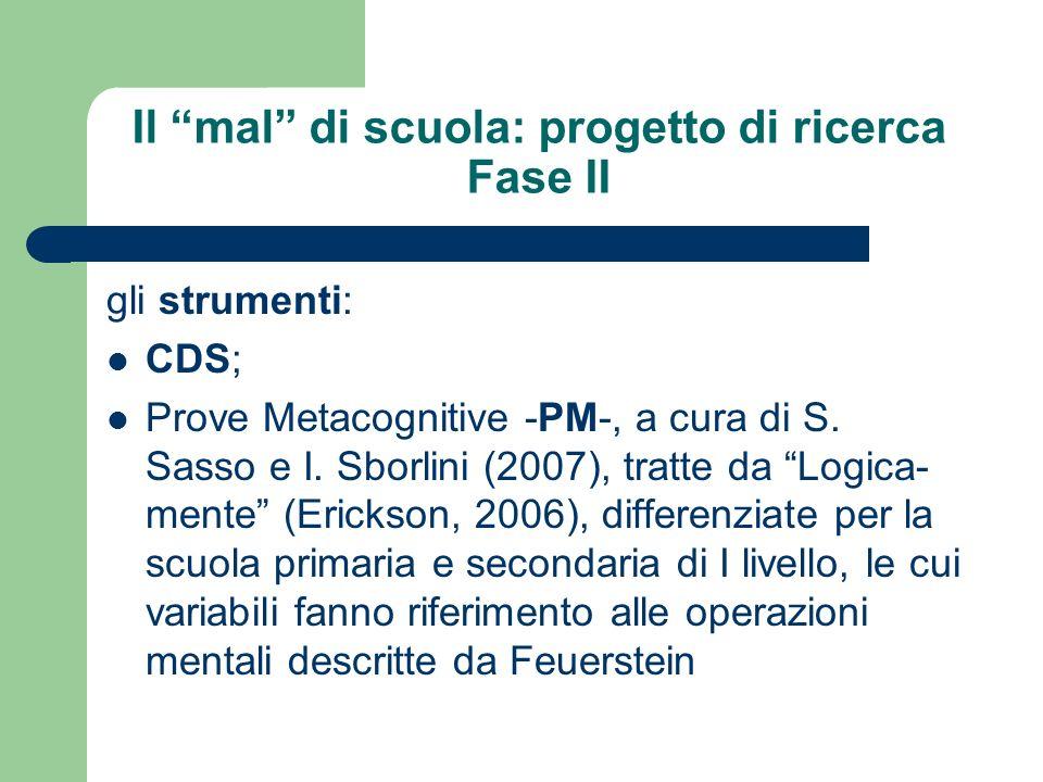 Il mal di scuola: progetto di ricerca Fase II gli strumenti: CDS; Prove Metacognitive -PM-, a cura di S. Sasso e I. Sborlini (2007), tratte da Logica-
