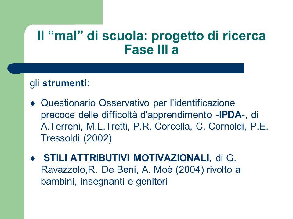 Il mal di scuola: progetto di ricerca Fase III a gli strumenti: Questionario Osservativo per lidentificazione precoce delle difficoltà dapprendimento