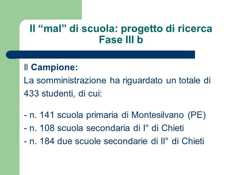 Il mal di scuola: progetto di ricerca Fase III b Il Campione: La somministrazione ha riguardato un totale di 433 studenti, di cui: - n. 141 scuola pri