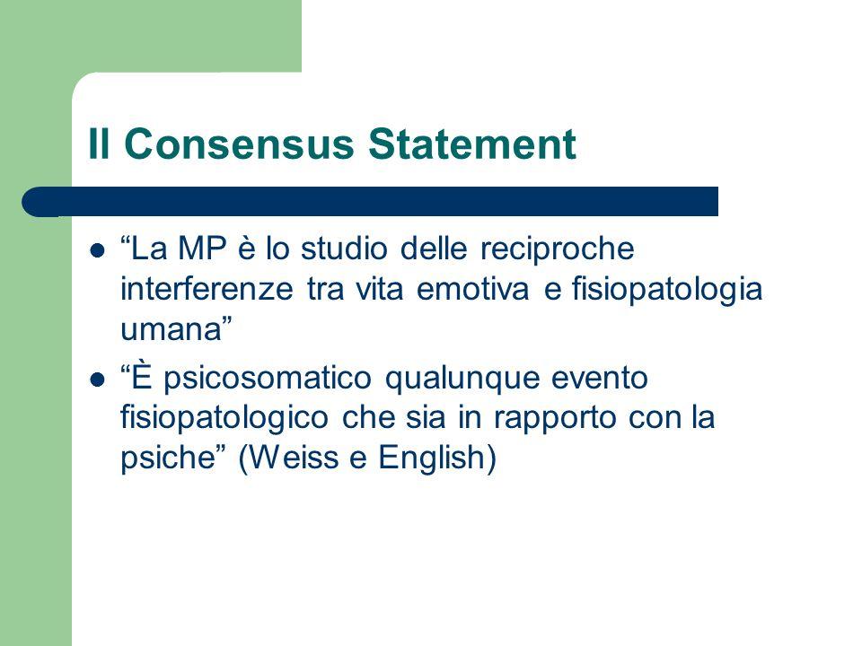 Il Consensus Statement La MP è lo studio delle reciproche interferenze tra vita emotiva e fisiopatologia umana È psicosomatico qualunque evento fisiop