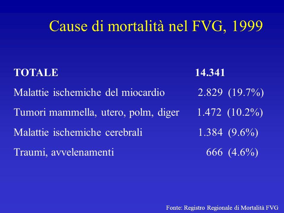 Cause di mortalità nel FVG, 1999 Fonte: Registro Regionale di Mortalità FVG TOTALE 14.341 Malattie ischemiche del miocardio 2.829 (19.7%) Tumori mamme