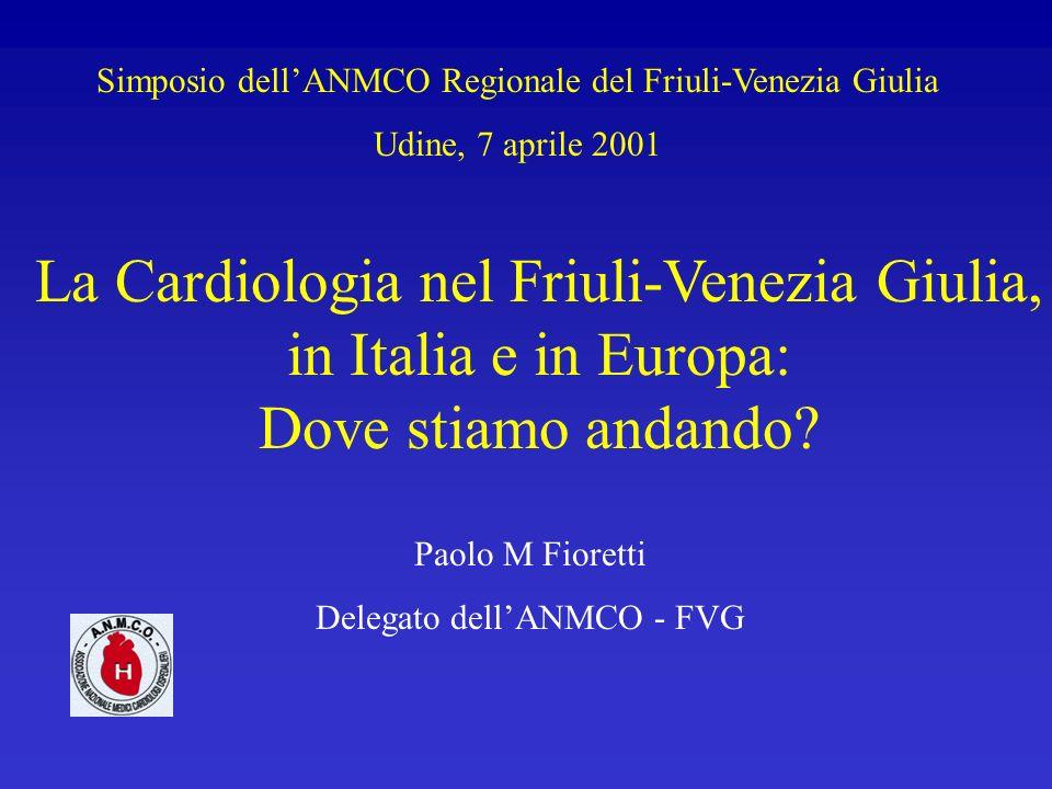 Simposio dellANMCO Regionale del Friuli-Venezia Giulia Udine, 7 aprile 2001 La Cardiologia nel Friuli-Venezia Giulia, in Italia e in Europa: Dove stia