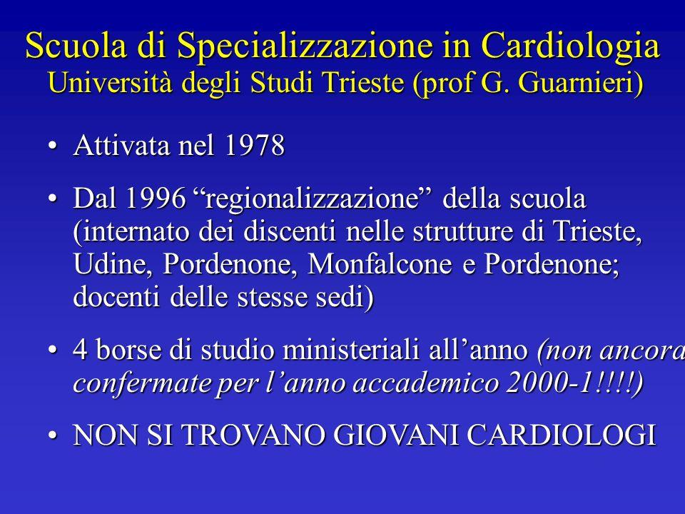 Scuola di Specializzazione in Cardiologia Università degli Studi Trieste (prof G. Guarnieri) Attivata nel 1978Attivata nel 1978 Dal 1996 regionalizzaz