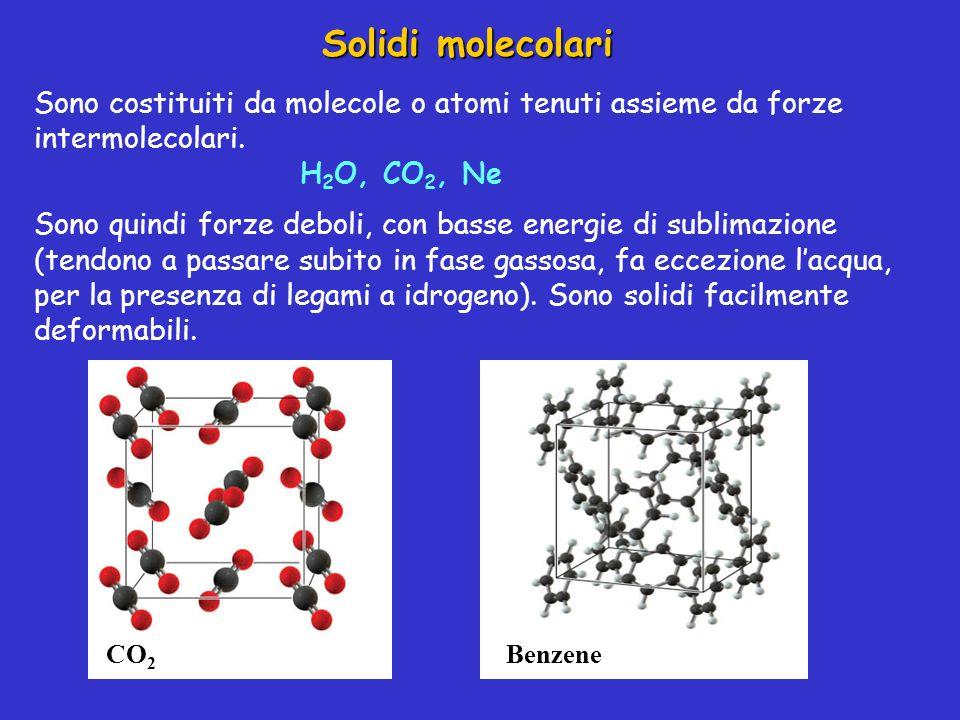 Solidi molecolari Sono costituiti da molecole o atomi tenuti assieme da forze intermolecolari. H 2 O, CO 2, Ne Sono quindi forze deboli, con basse ene