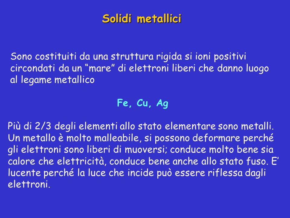 Solidi metallici Sono costituiti da una struttura rigida si ioni positivi circondati da un mare di elettroni liberi che danno luogo al legame metallic
