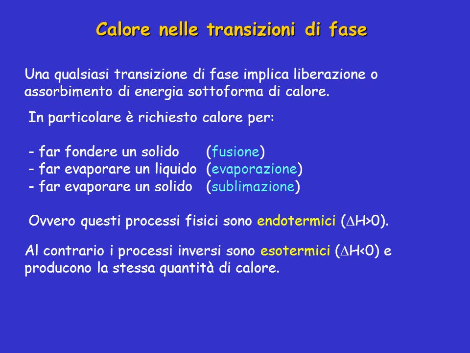 Calore nelle transizioni di fase Una qualsiasi transizione di fase implica liberazione o assorbimento di energia sottoforma di calore. In particolare