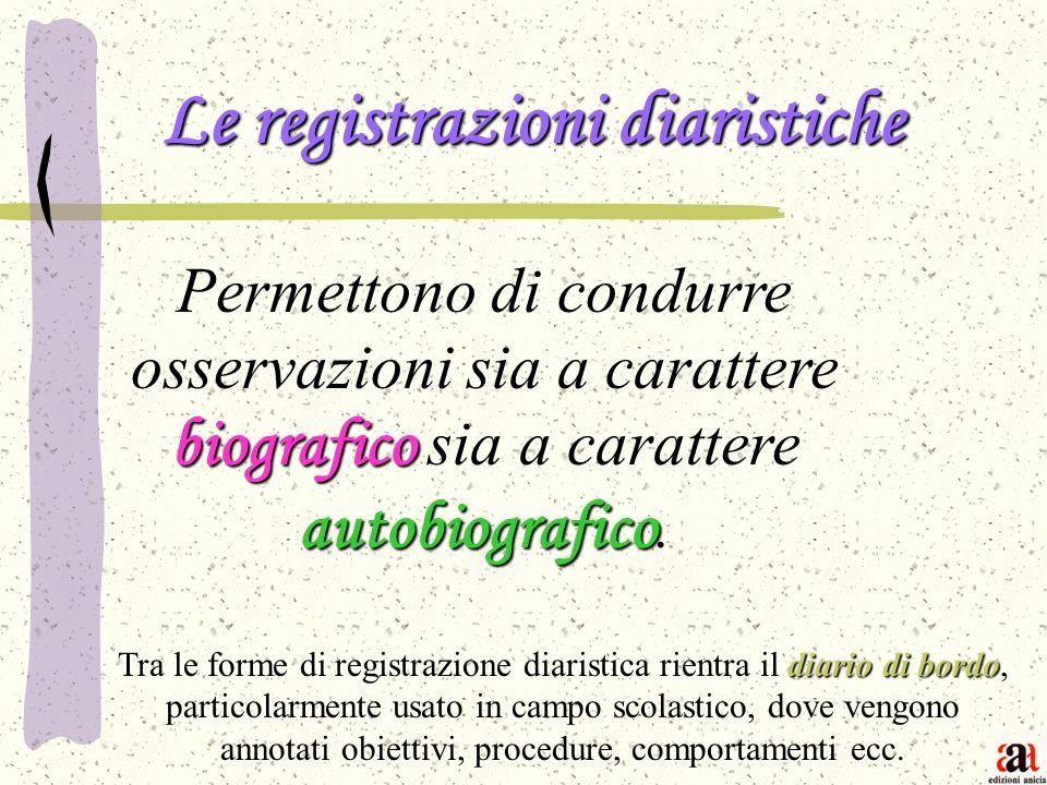 Le registrazioni diaristiche biografico autobiografico Permettono di condurre osservazioni sia a carattere biografico sia a carattere autobiografico.