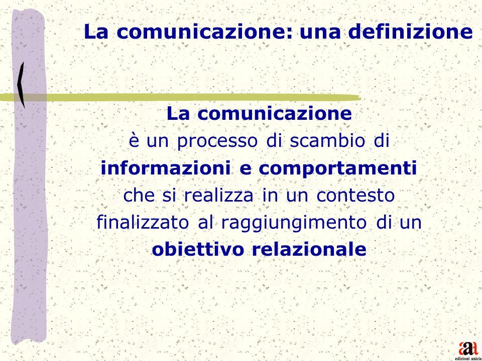La comunicazione è un processo di scambio di informazioni e comportamenti che si realizza in un contesto finalizzato al raggiungimento di un obiettivo