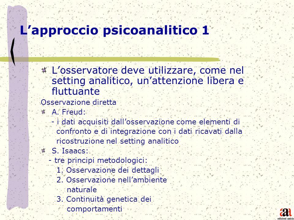 Lapproccio psicoanalitico 1 Losservatore deve utilizzare, come nel setting analitico, unattenzione libera e fluttuante Osservazione diretta A. Freud: