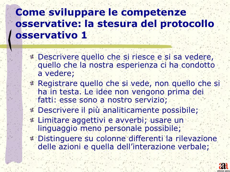 Come sviluppare le competenze osservative: la stesura del protocollo osservativo 1 Descrivere quello che si riesce e si sa vedere, quello che la nostr