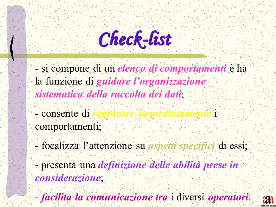 Check-list - - si compone di un elenco di comportamenti è ha la funzione di guidare lorganizzazione sistematica della raccolta dei dati; - consente di