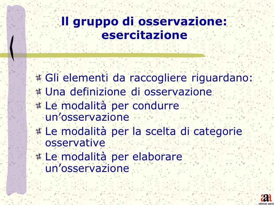 ll gruppo di osservazione: esercitazione Gli elementi da raccogliere riguardano: Una definizione di osservazione Le modalità per condurre unosservazio