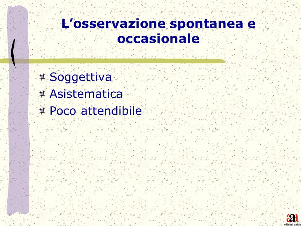 Losservazione spontanea e occasionale Soggettiva Asistematica Poco attendibile