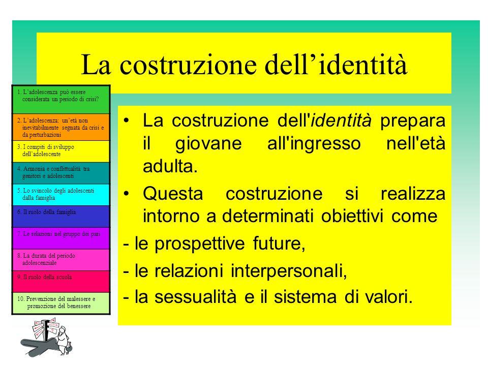 La costruzione dellidentità La costruzione dell'identità prepara il giovane all'ingresso nell'età adulta. Questa costruzione si realizza intorno a det
