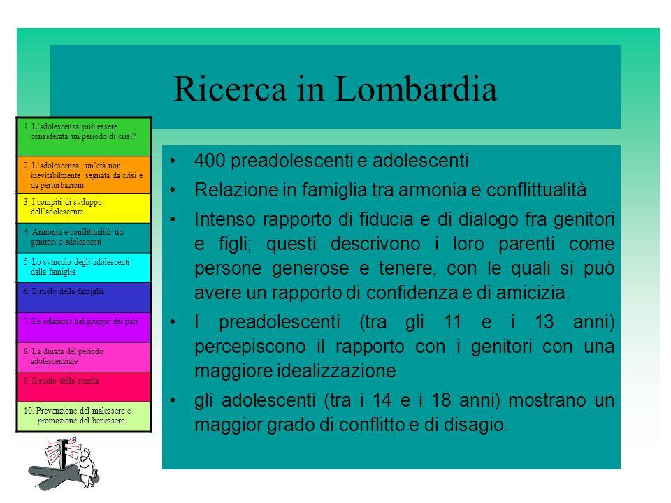 Ricerca in Lombardia 400 preadolescenti e adolescenti Relazione in famiglia tra armonia e conflittualità Intenso rapporto di fiducia e di dialogo fra