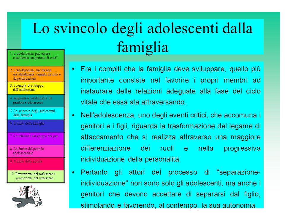Lo svincolo degli adolescenti dalla famiglia Fra i compiti che la famiglia deve sviluppare, quello più importante consiste nel favorire i propri membr