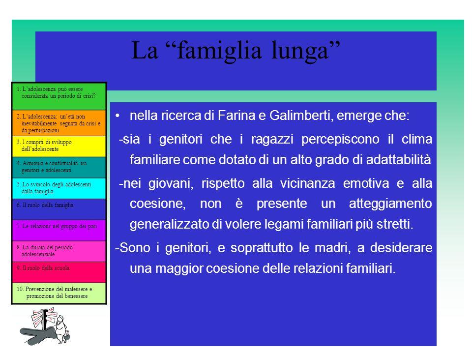La famiglia lunga nella ricerca di Farina e Galimberti, emerge che: -sia i genitori che i ragazzi percepiscono il clima familiare come dotato di un al