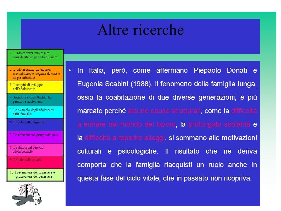 Altre ricerche In Italia, però, come affermano Piepaolo Donati e Eugenia Scabini (1988), il fenomeno della famiglia lunga, ossia la coabitazione di du