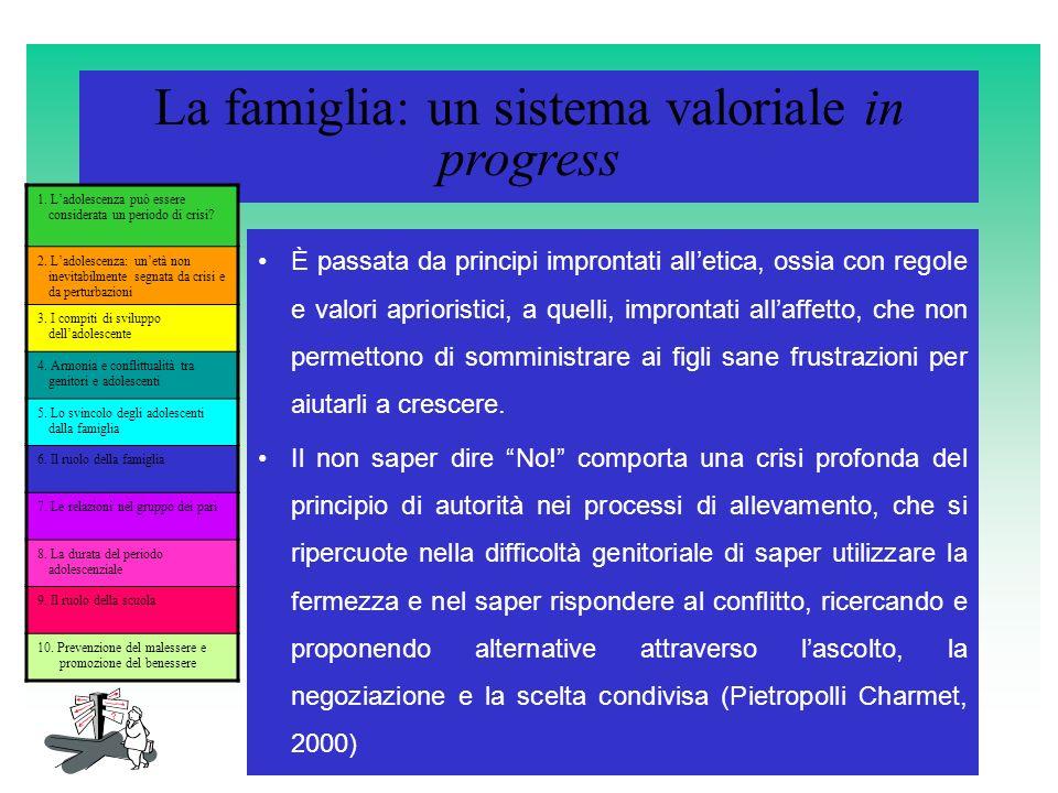La famiglia: un sistema valoriale in progress È passata da principi improntati alletica, ossia con regole e valori aprioristici, a quelli, improntati