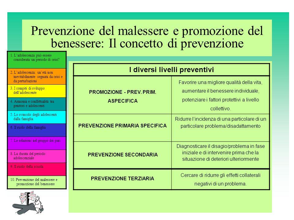 Prevenzione del malessere e promozione del benessere: Il concetto di prevenzione 1. Ladolescenza può essere considerata un periodo di crisi? 2. Ladole
