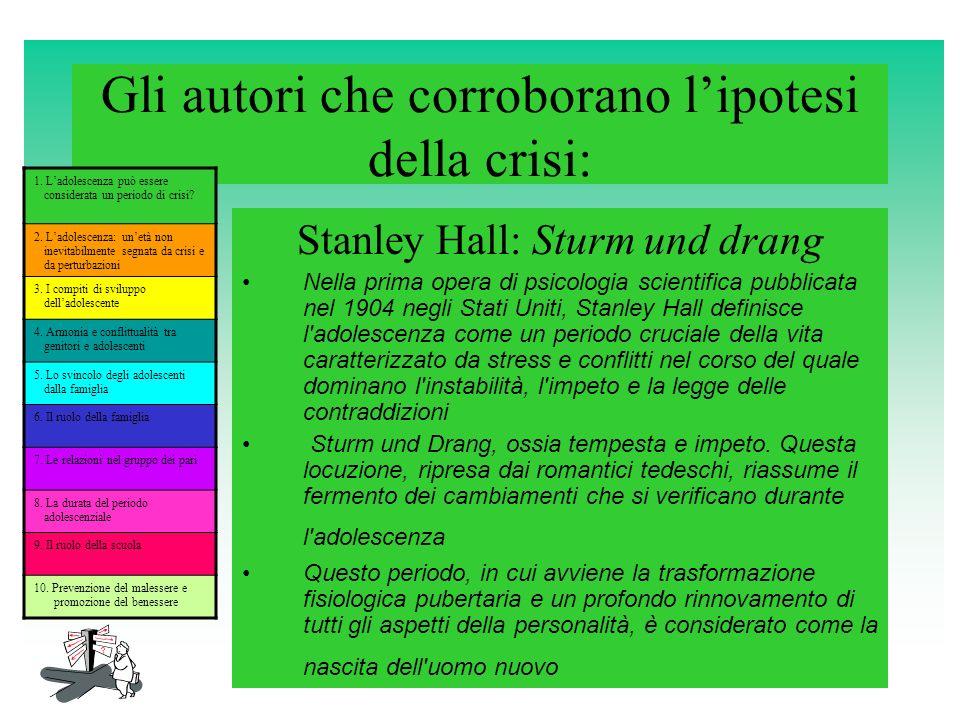 Gli autori che corroborano lipotesi della crisi: Stanley Hall: Sturm und drang Nella prima opera di psicologia scientifica pubblicata nel 1904 negli S