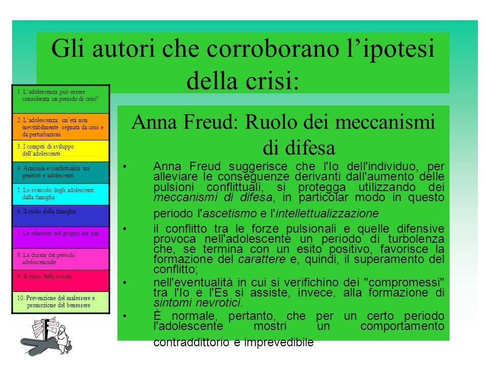 Gli autori che corroborano lipotesi della crisi: Anna Freud: Ruolo dei meccanismi di difesa Anna Freud suggerisce che l'Io dell'individuo, per allevia