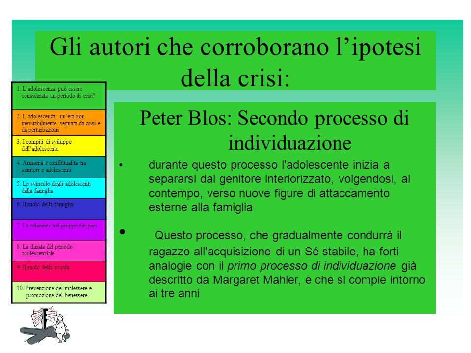 Gli autori che corroborano lipotesi della crisi: Peter Blos: Secondo processo di individuazione durante questo processo l'adolescente inizia a separar