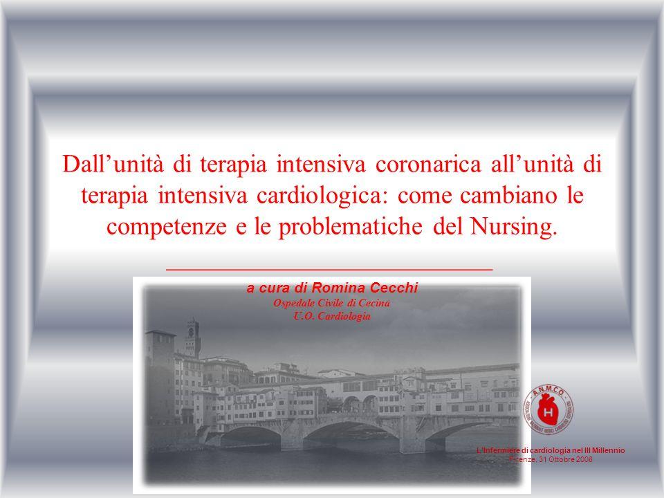 LInfermiere di cardiologia nel III Millennio Firenze, 31 Ottobre 2008 Cambiamento del ruolo dellInfermiere QUADRO NORMATIVO INTENSITA DI CURA UTIC