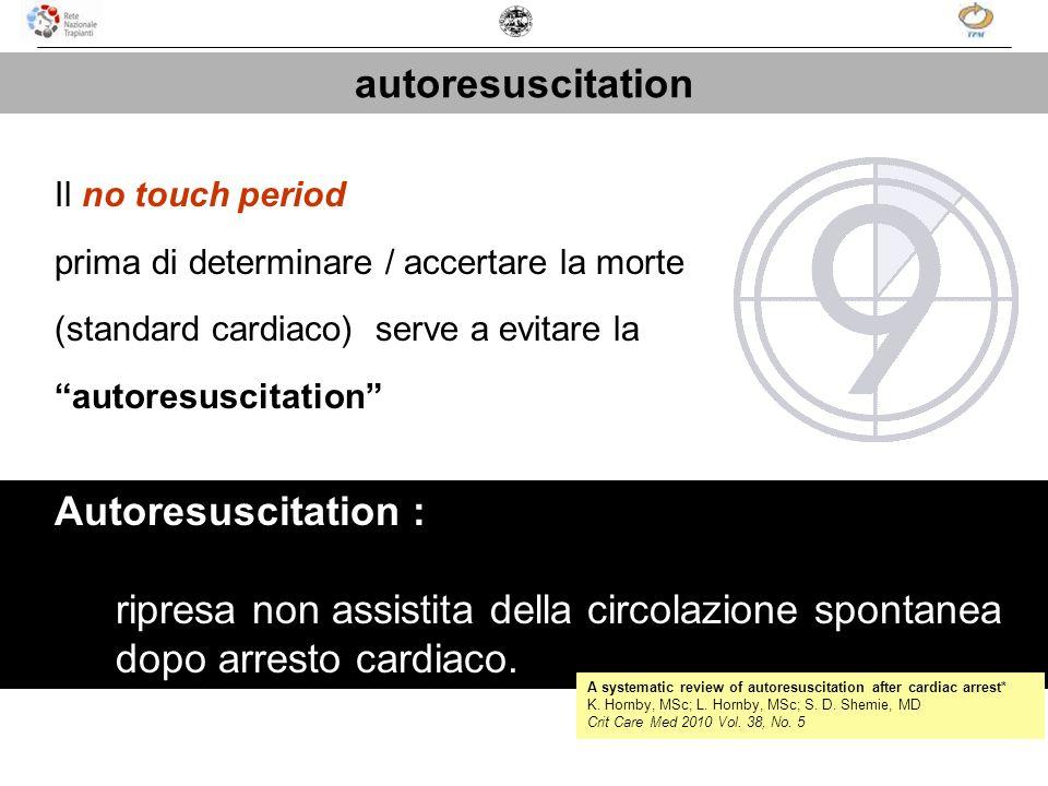 Il no touch period prima di determinare / accertare la morte (standard cardiaco) serve a evitare la autoresuscitation Autoresuscitation : ripresa non
