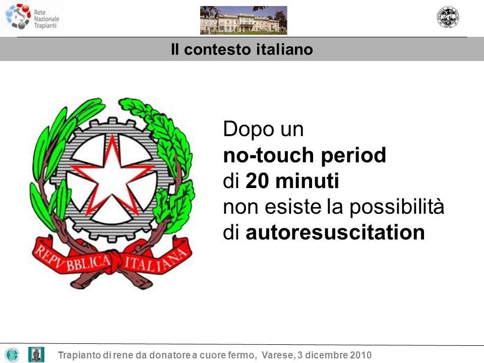 Il contesto italiano Trapianto di rene da donatore a cuore fermo, Varese, 3 dicembre 2010 Dopo un no-touch period di 20 minuti non esiste la possibili